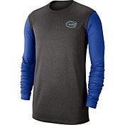 Jordan Men's Florida Gators Grey Dri-FIT Coaches Pullover Long Sleeve Football T-Shirt