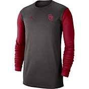 Jordan Men's Oklahoma Sooners Grey Dri-FIT Coaches Pullover Long Sleeve Football T-Shirt