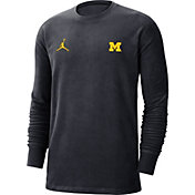 Jordan Men's Michigan Wolverines Blue Coach Crew Long Sleeve T-Shirt
