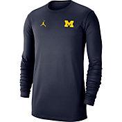 Jordan Men's Michigan Wolverines Blue Dri-FIT Coaches Pullover Long Sleeve Football T-Shirt