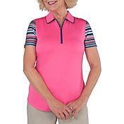 Jofit Women's Tipped Printed Short Sleeve Golf Polo