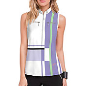 Jamie Sadock Women's Multi Stripe Sleeveless 1/4 Zip Golf Polo