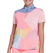 Jamie Sadock Women's Geo Print Short Sleeve Golf Polo