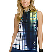 Jamie Sadock Women's Painted Plaid Sleeveless Golf Polo