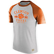 Original Retro Brand Men's Clemson Tigers Grey Raglan T-Shirt
