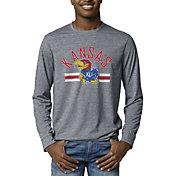 League-Legacy Men's Kansas Jayhawks Blue Reclaim Tri-Blend Long Sleeve T-Shirt