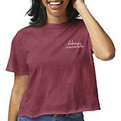 League-Legacy Women's Alabama Crimson Tide Crimson Clothesline Cotton Cropped T-Shirt