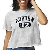 League-Legacy Women's Auburn Tigers Grey Clothesline Cotton Cropped T-Shirt