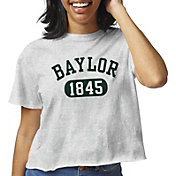 League-Legacy Women's Baylor Bears Grey Clothesline Cotton Cropped T-Shirt