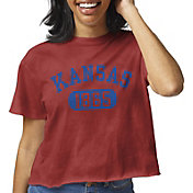 League-Legacy Women's Kansas Jayhawks Crimson Clothesline Cotton Cropped T-Shirt