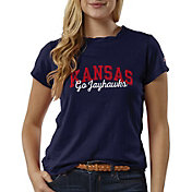 League-Legacy Women's Kansas Jayhawks Blue ReSpin T-Shirt