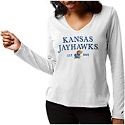 League-Legacy Women's Kansas Jayhawks ReSpin Long Sleeve White T-Shirt