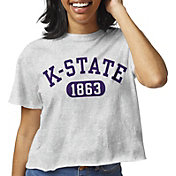 League-Legacy Women's Kansas State Wildcats Grey Clothesline Cotton Cropped T-Shirt