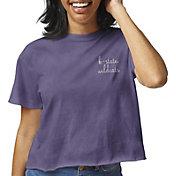 League-Legacy Women's Kansas State Wildcats Purple Clothesline Cotton Cropped T-Shirt