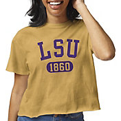 League-Legacy Women's LSU Tigers Gold Clothesline Cotton Cropped T-Shirt