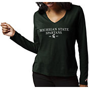 League-Legacy Women's Michigan State Spartans Green ReSpin Long Sleeve T-Shirt