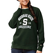 League-Legacy Women's Michigan State Spartans Green Academy Crew Sweatshirt
