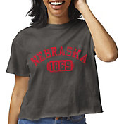 League-Legacy Women's Nebraska Cornhuskers Clothesline Cotton Cropped Black T-Shirt