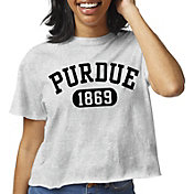 League-Legacy Women's Purdue Boilermakers Grey Clothesline Cotton Cropped T-Shirt