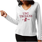 League-Legacy Women's USC Trojans ReSpin Long Sleeve White T-Shirt