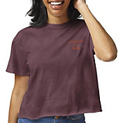League-Legacy Women's Virginia Tech Hokies Maroon Clothesline Cotton Cropped T-Shirt