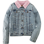 Levi's Girls' Sherpa Trim Denim Trucker Jacket