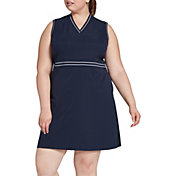 Lady Hagen Women's Green Navy Ribbed Sleeveless Golf Dress – Extended Sizes