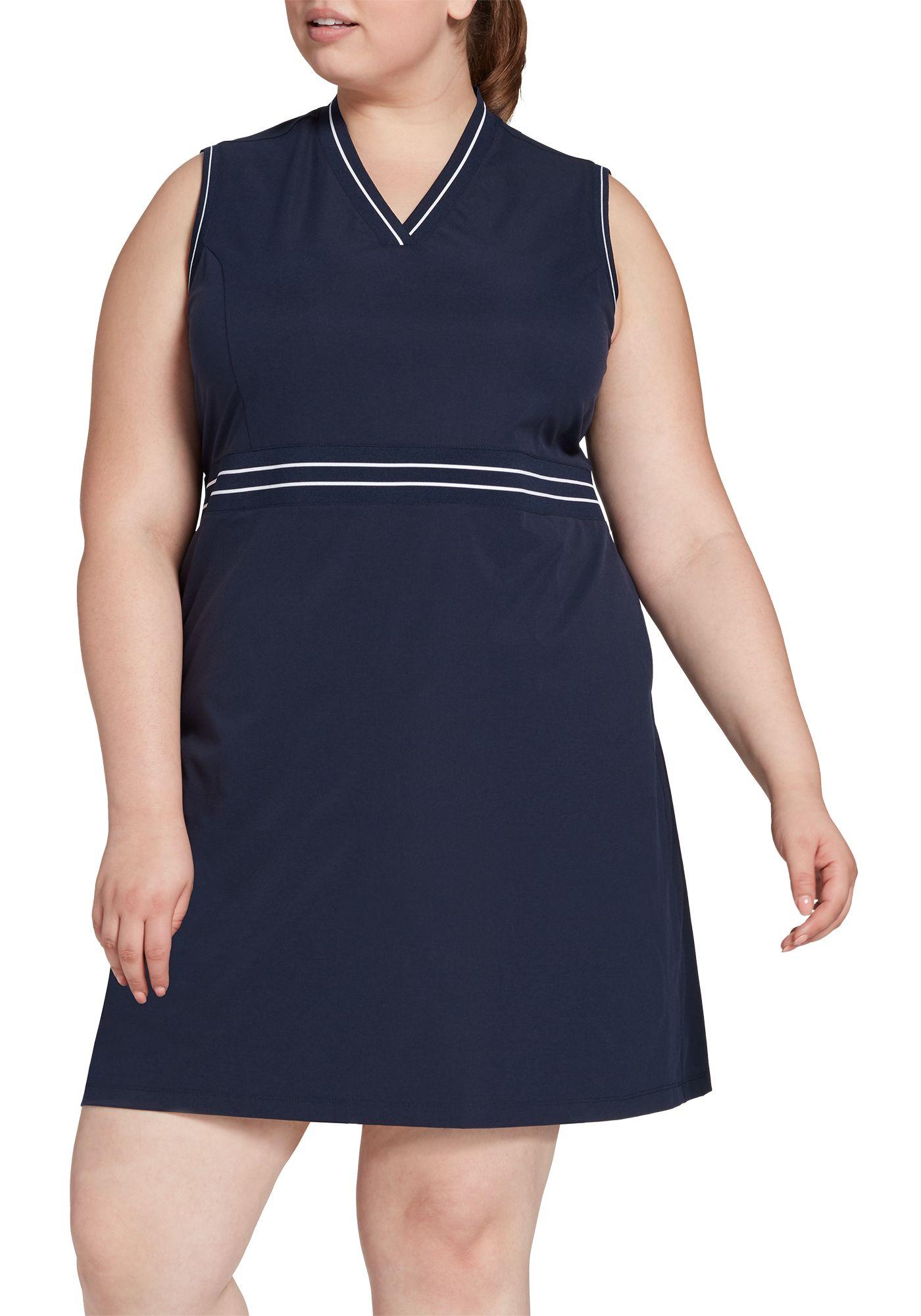 Lady Hagen Women's Green Navy Ribbed Sleeveless Golf Dress – Extended Sizes