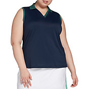 Lady Hagen Green Printed Sleeveless Golf Polo – Extended Sizes