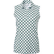 Lady Hagen Women's Green Printed Sleeveless Golf Polo