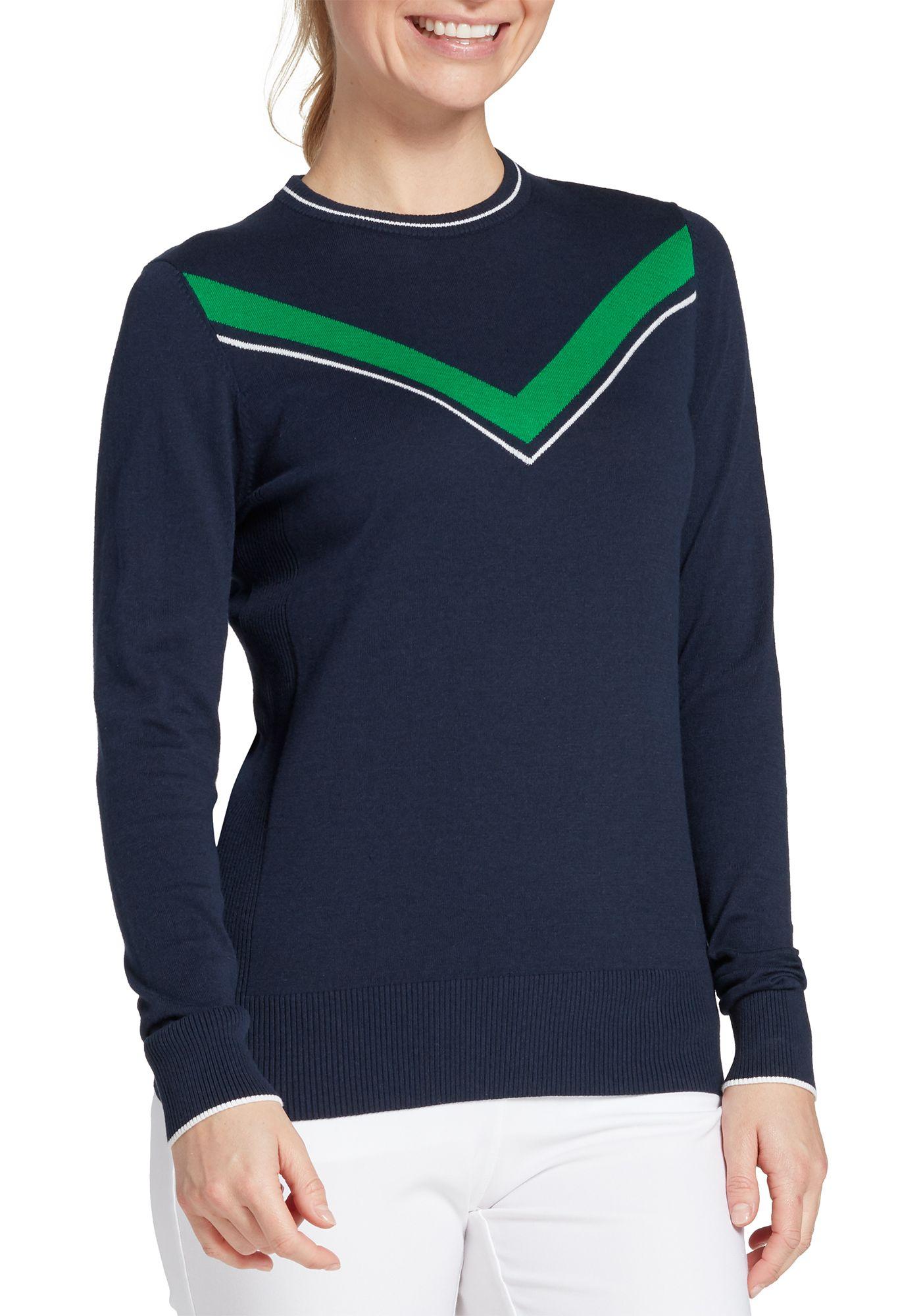 Lady Hagen Women's Green V Long Sleeve Golf Sweater