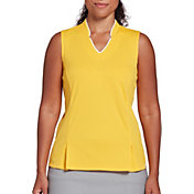Lady Hagen Women's Toile Notch Texture Sleeveless Golf Polo