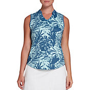 Lady Hagen Women's Tropical Print Sleeveless Golf Polo