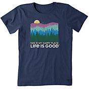 Life is Good Women's Happy Place Trees Crusher T-Shirt