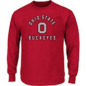 Majestic Big and Tall Men's Ohio State Buckeyes Scarlet Logo Long Sleeve T-Shirt