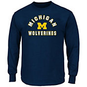 Majestic Men's Big and Tall Michigan Wolverines Long Sleeve T-Shirt