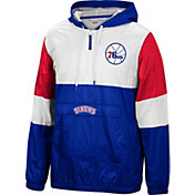 Mitchell & Ness Men's Philadelphia 76ers Blue Windbreaker Half-Zip Pullover Jacket