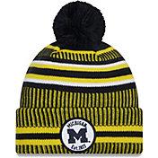New Era Men's Michigan Wolverines Blue Sport Knit Pom Beanie