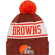 New Era Youth Cleveland Browns Brown Banner Knit Pom Beanie