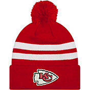 New Era Men's Kansas City Chiefs Stripe Cuff Red Pom Knit