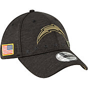 New Era Men's Salute to Service Los Angeles Chargers 39Thirty Stretch Fit Black Hat