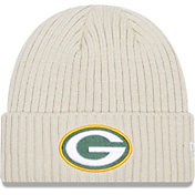 New Era Men's Green Bay Packers Core Cuffed Knit White Beanie