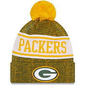New Era Men's Green Bay Packers Green Banner Knit Pom Beanie