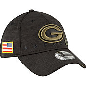 New Era Men's Salute to Service Green Bay Packers 39Thirty Stretch Fit Black Hat