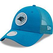 New Era Women's Carolina Panthers Blue Sparkle Adjustable Trucker Hat
