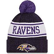 New Era Men's Baltimore Ravens Banner Knit Pom Black Beanie