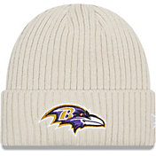 New Era Men's Baltimore Ravens Core Cuffed Knit White Beanie