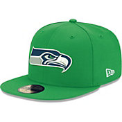 New Era Men's Seattle Seahawks Green 59Fifity Logo Fitted Hat