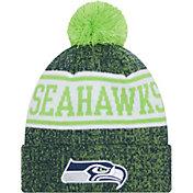 New Era Youth Seattle Seahawks Navy Banner Knit Pom Beanie