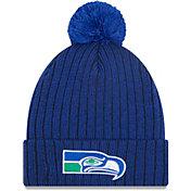 New Era Men's Seattle Seahawks Navy Breeze Knit Pom Beanie